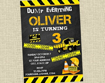 Construction Chalkboard Invitation - Dump Truck Bulldozer Birthday Party Invitation - Birthday Party Invite - Digital Customized