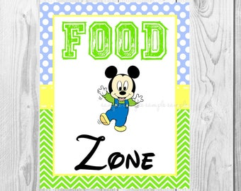 "Food Zone Sign, Baby Mickey Mouse Birthday Party Sign, 8""x10"" Printable, Instant Download"