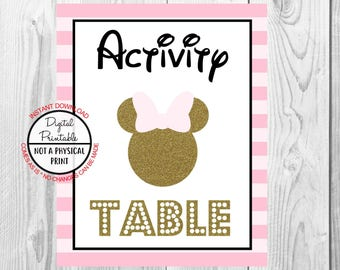 """Activity Table Sign, Minnie Mouse Birthday Party Sign, 8""""x10"""" Printable, Instant Download, Gold & Pink Sign"""