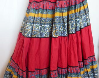 Vintage 70s 80s PROVENCAL Skirt Valderome Folk Tiered Elasticated Waist Red Yellow Blue French Gypsy Peasant Ethnic