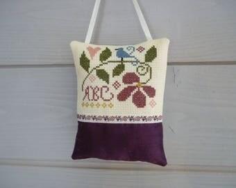 Floral door cross stitch cushion