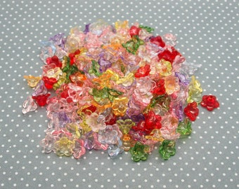set of 60 colorful translucent lucite flowers with 10mm
