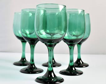 Set of 6 Vintage Libbey Emerald Green Wine Glasses / Green Wine Glasses / Vintage Glassware