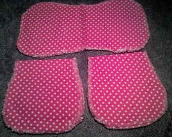 Three piece baby burp cloth set. Red with white dots