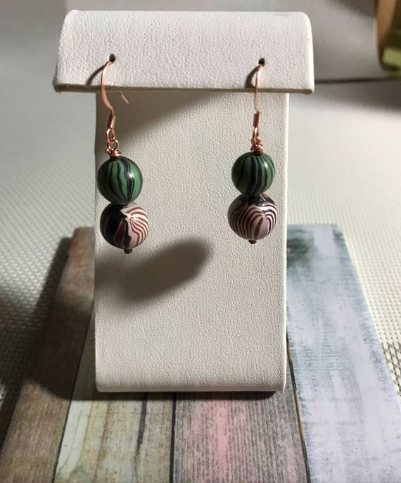 Polymer Clay Square Dangle Pierced Earrings Greens and Tans