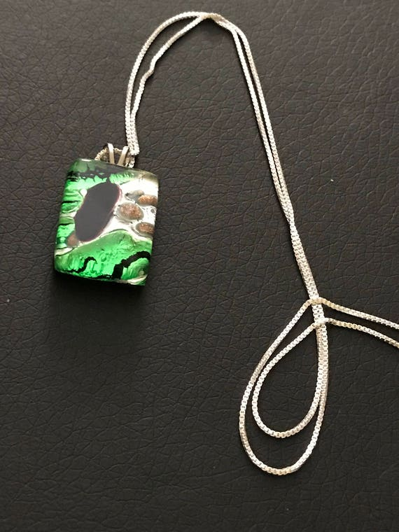 Murano Glass Pendant Necklace on Sterling Silver Chain