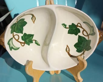 1946 - 1986 Metlox Poppytrail California Ivy Divided Serving Dish - 11 inches - Fair to Good Condition