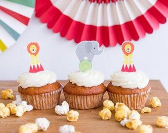 Carnival Cupcake Kit, Circus Cupcake Kit, Circus Party, Animal Party Picks, Cupcake Toppers, Circus Desserts, Carnival Bakeware, Cupcake Kit