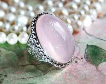 Rose Quartz Jewelry, Rose Quartz Ring, Rose Quartz Cabochon, Rose Quartz Ring, Filigree Silver Ring, Natural Rose Quartz Gem, Handmade Ring