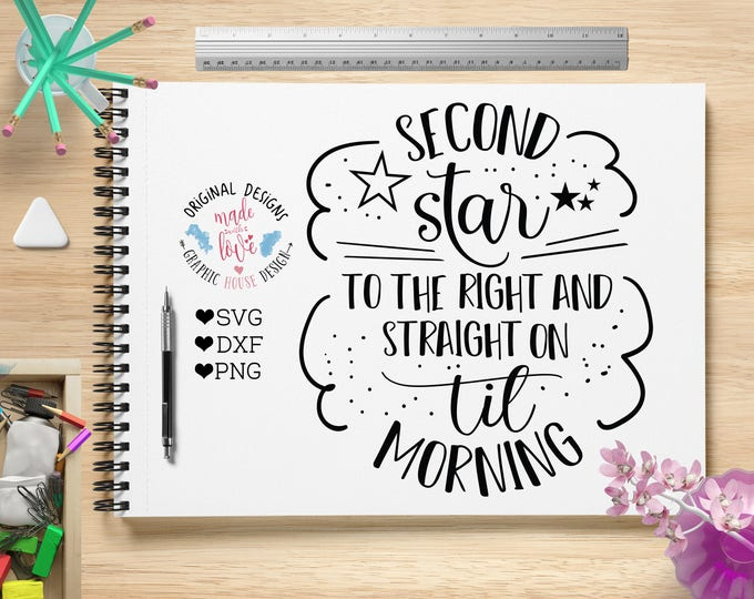 Nursery SVG, Nursery Printable, Peter Pan SVG, Peter Pan book Quote, Peter Pan Printable, Second Star To the Right in SVG, dxf, png,
