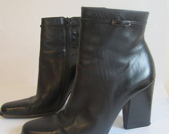 Ck Calvin Klein black leather ankle boots