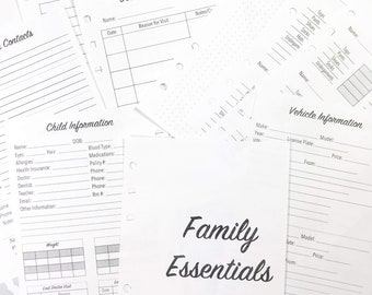 Personal WIDE Size Family Planner Bundle, Clothing Sizes, Child Information, Emergency Contact, Doctor, Car, Medication Inserts
