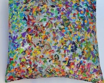 Rainbow confetti cushion