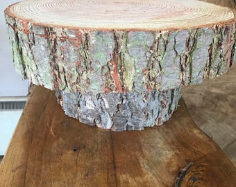 "Gorgeous 18"" Rustic raised wedding cake stand, centerpiece, log/display stand"