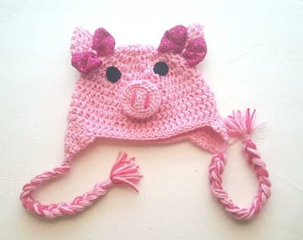 Pink Pig Hat, Child Pig Hat, Pink Piggy Beanie, Pig Pink Toddler Hat, Coming Home, First Birthday Outfit, Photo Prop, Cake Smash, Peppa Pig