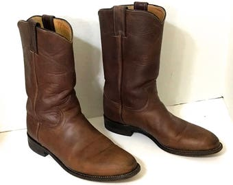 Vintage Women's Justin Boots Size 7B Brown Leather Women's Motorcycle Boots 7B Vintage Brown Riding Boots Vintage Brown Womens Cowboy Boots