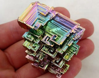 Rainbow Bismuth Crystal 94g Lab Grown Jewelry Display Specimen Educational Metaphysical Metal Healing Stone
