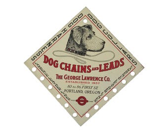 Original George Lawrence Co. Tin Litho Sign - Dog Chains and Leads