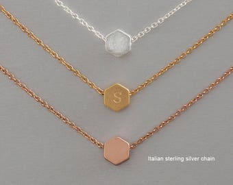 Hexagon necklace, Initial necklace, Personalized necklace, Simple necklace, Bridesmaid gift, Birthday Gift