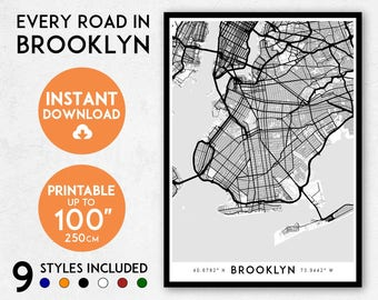 Brooklyn map print, Printable Brooklyn map art, Brooklyn print, New York map, NYC print, Brooklyn art, Brooklyn poster, Brooklyn wall art