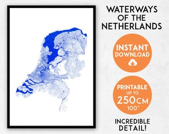 The Netherlands map print, Printable Netherlands map art, Netherlands print, Netherlands art, Netherlands poster, Holland map, Dutch map