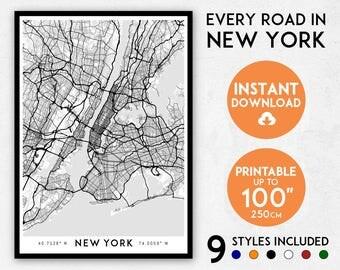 New York map print, New York City map art, New York print, New York art, New York poster, New York wall art, Manhattan map, NYC map art