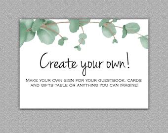 Create your own Custom Sign, Digital download, Eucalyptus #10-Custom