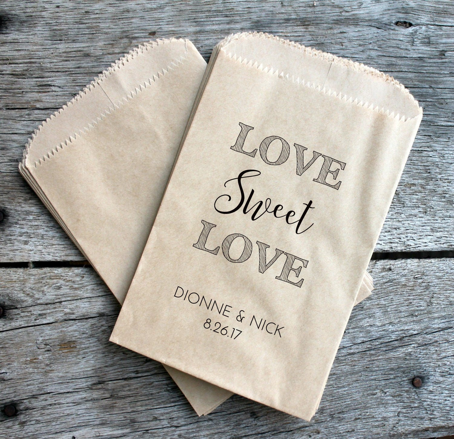 Wedding Favor Bags - Love Sweet Love - Custom printed on kraft brown ...