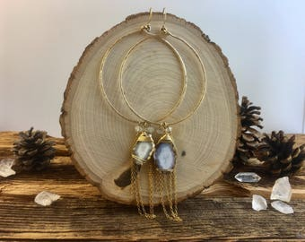 Geode Hammered Wire Hoop Earrings GoldFilled / Dangle Raw Cyrstal Gemstone Druzy Wire Wrapped Hoop