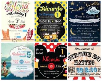 We create Customized invitations for every ocation. / Invitaciones Personalizadas para toda ocacion. (Digital File)