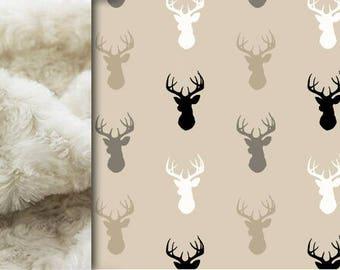 Deer Baby minky blanket, buck head blanket, Tan Beige Gray woodland blanket, deer blanket, child throw blanket, baby shower gift, birth gift