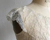 Romantic sheer blouse * Vintage 1940s cap sleeve top * 40s netting & soutache blouse