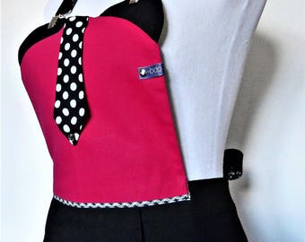 Pretty pink and black apron with tie.