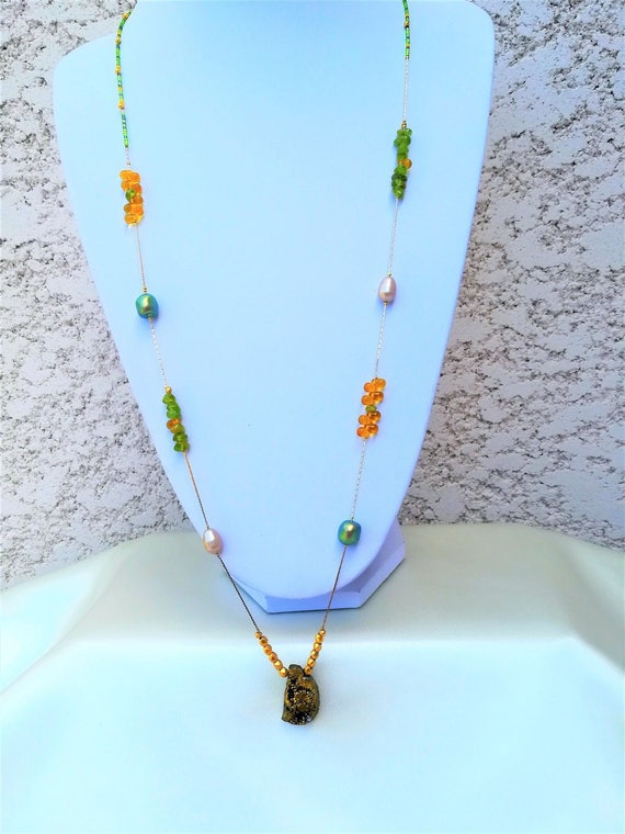 chic bohemian necklace gemstones, swarovski and Czech and seed beads