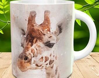 Giraffe Mug, Giraffe Painted in watercolour grunge and splatter effect, Giraffe