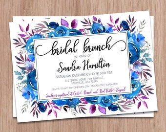 Bridal Brunch Invitation Blue, Brunch Bridal Shower Invitation Blue, Blue Floral Bridal Shower, Printable Bridal Brunch Shower Invitation