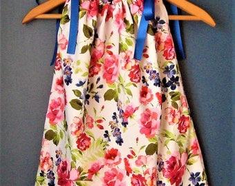Flower Pillowcase Dress, Toddler Size 2 Sundress, 2T Pillowcase Dress, Handmade Size 3T Dress, Toddler 3T Girl Dress, Toddler Clothing