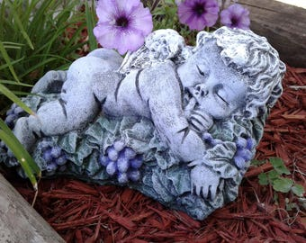 Concrete Angel Baby on grapes, angel statue, sleeping cherub, garden sculpture,outdoor sculpture, garden decor, made and ready to ship