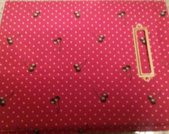Notebook covered with cherry fabric
