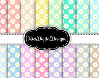 Buy 2 Get 1 Free-16 Digital Papers. Daisies in Pastel Colours (1Bno 5) for Personal Use and Small Commercial Use Scrapbooking