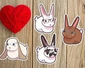 Nerdy Cute Bunny Rabbit Sticker or Magnet - nerdy bunny, nerdy rabbit, lop, bunny sticker, laptop sticker, art sticker