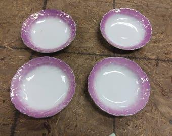 Vintage Pink/Gold Rimmed Dessert or Fruit Bowls