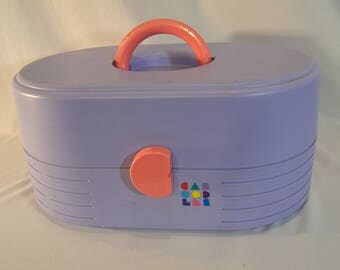 1990s 13 Inch Large Caboodles Lavender and Pink Makeup Organizer Case
