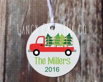 Truck Personalized Christmas ornament - Family Christmas Ornament, Christmas Gift, Personalized Ornament, Boy Ornament