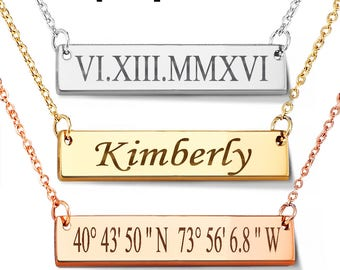 Personalized necklace, Bar necklace, Gold Bar Necklace, Name plate bar, Initial necklace, Personalized bar necklace, mother gift