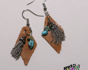 Leather  / Turquoise / Tassel Layered Handmade Earring