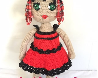 Hand made red Crochet Doll