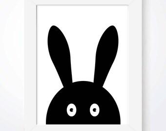 Kids Rabbit Nursery Print Monochrome Print Scandinavian Print Baby Boy Girl Print Bunny Print Rabbit Print Kids Bedroom Wall Art Black White