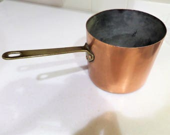 Vintage Copper Pan Pot with Brass Handle and Tin Lined