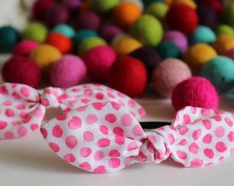 White & Pink Polka Dot Knot Hair Tie